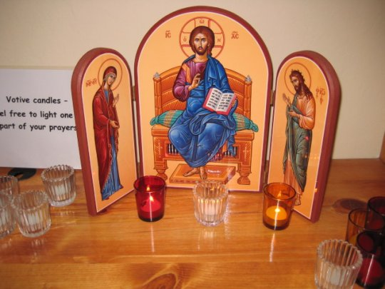 Icon and prayer candles (8/28/10